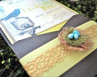 Bird Theme Baby Shower Invitation