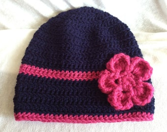 Navy Blue & Pink Flowered Beanie Hat