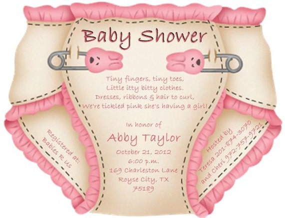 baby shower diaper invitations or thank you notes, Baby shower