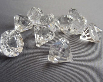 10 Acrylic Crystal Gem Pendant Beads - Clear - Tiny Small 12mm