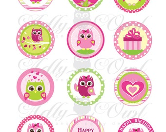 Pink Girl Owl Birthday Cupcake Toppers or Favor Tags Printables DIY  - ONLY digital file - you print