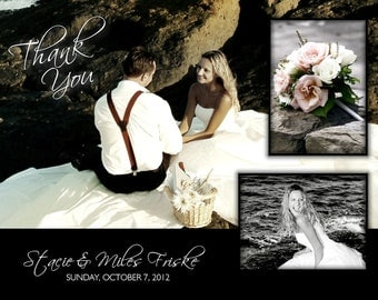 Thank You Wedding Photo Card in black and white 2 sided