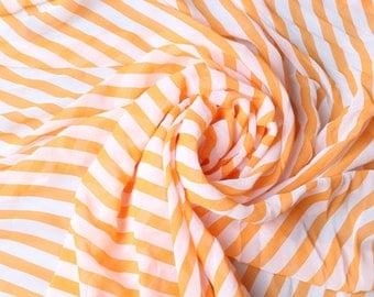 1 Meter Chiffon Fabric  - Stripes In Orange