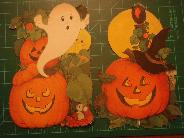 2 vintage hallmark paper halloween decorations jack for Antique halloween decoration