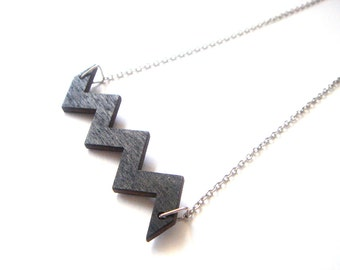Black Geometric Necklace, Wood Chevron Necklace,Zig Zag Necklace,Geometric Jewelry