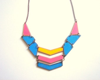 Neon Geometric Necklace, Wood Triangles Bib,Wood Tribal Necklace,Geometric Jewelry