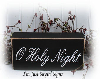 O Holy Night Wood Block Sign