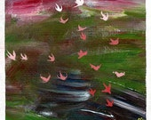 """Windblown Spring 2/50 - this giclee print comes from an original 6x6"""" acrylic painting on canvas paper"""