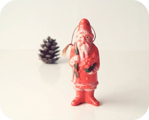 1930s Celluloid Santa, Made by Irwin USA, Antique Christmas Decoration