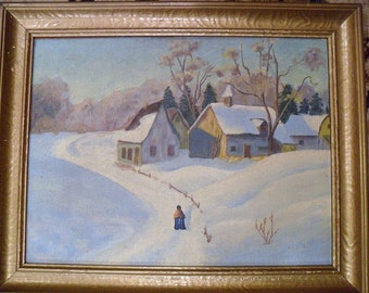 1931 Farm Scene. Oil Painting on Board. SIGNED. Folk Art, Countryscape