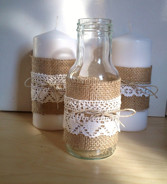 Jar with burlap lace and twine for decor at home wedding for Lace home decor