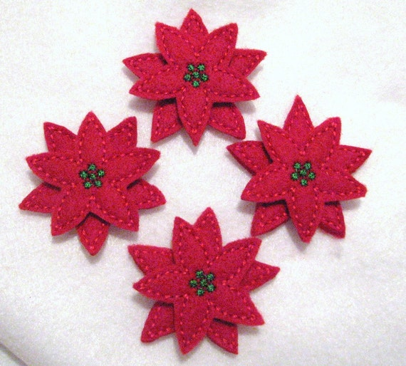 Stacked Poinsettia Flower - Embroidered Felt Appliques - Set of 4