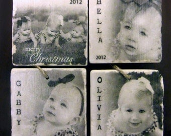 Personalized Photo Ornaments - Set of 4 - Tumbled Marble 2in. x 2in. - Holiday Ornaments - Christmas Ornaments