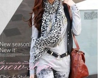 Free Shipping 1pcs Fashion Long Rebellious Leopard Women White Scarf Shawl
