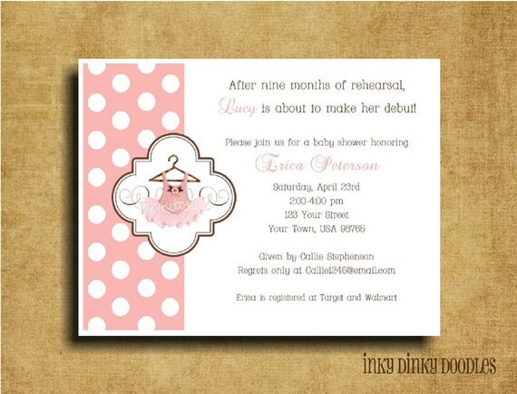 items similar to baby girl ballet baby shower invitation on etsy