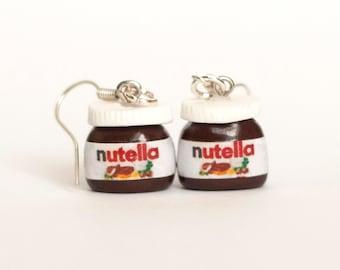 Nutella earrings kawaii chocolate  Polymer clay dangle miniature food jewelry