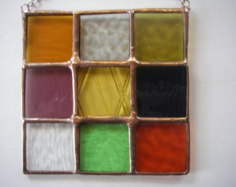 Imperfect Square stained glass panel