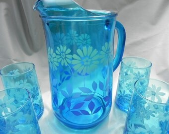 Vintage Pitcher and Eleven Glasses  Teal Blue with a Flower Design