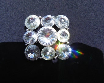 Vintage  Weiss Pin/Brooch Crystal Clear Colored Swarovski Crystals