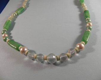 Vintage Necklace Frosty Soft Green and White Beads  Plastic
