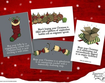 Sumptuous Twaddle Fun and Quirky Christmas Cards - 8 pack.