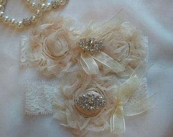 SALE -Bridal Garter, Wedding Garter and Toss Garter - Ivory Tulle Garter Set with Rhinestone - Style G253
