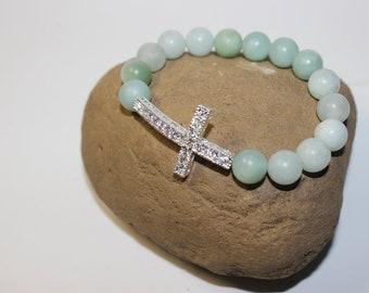Yoga Charm Bracelet - Yoga Bracelet with Sideways Cross charm and Beads, Jeweled Sideways Cross Mala Bead - Cross Bracelet