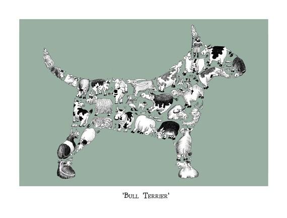 Dog Lover Gift Bull Terrier Art Print Signed - Bull terrier art