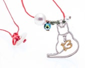 2013 New Year, Christmas, graduation pendant necklace charm: The lucky 13 cat  in silver & painted enamel from the Lucky Charm Collection