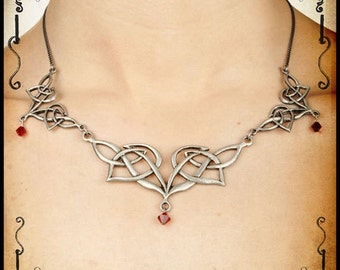 Elven necklace jewelry - Handmade elf necklace with swarovski celtic knot