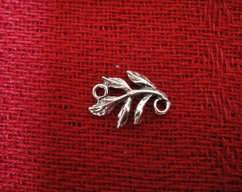 2 pc. 925 sterling silver oxidized branch charm, connector, silver leaf and branch