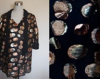 metallic party dress // polka dot oversized shirt dress //vintage disco