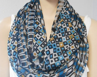 Infinity Scarf  Fabulous Light and Sheer Geometric Print