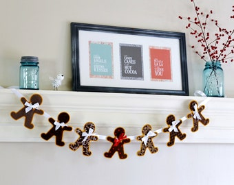 Gingerbread Man Machine Embroidered Christmas Banner/Bunting/Garland