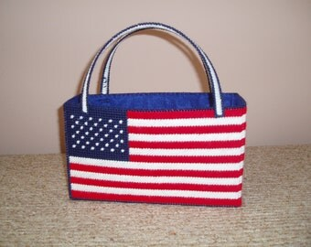 Hand-stitched American Flag Needlepoint-style Bag