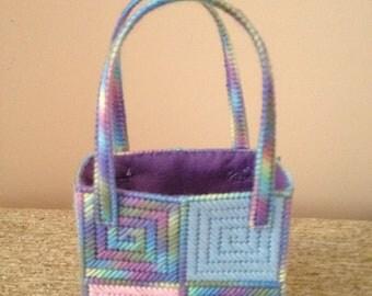 Hand-stitched Rainbow Pastel Squares Needlepoint-style Bag