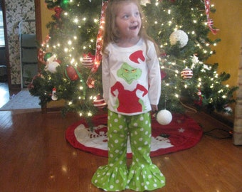 Special ORder Mr Grinch  Ruffle Pant outfit Size 5 and  Grinch Skirt outfit Size 2