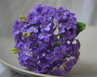 Handmade Clay Purple Hydrangea Bouquet (CF0022)