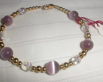 "7 1/2"" Cats  Eye and Crystal Bracelet"