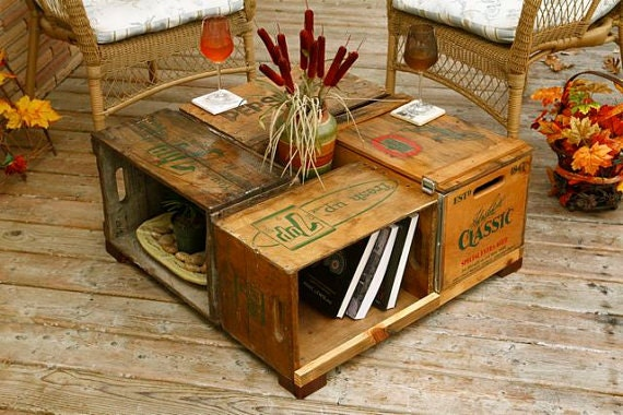 Items Similar To Antique Wood Box Crate Table Pop Bottle Crates Coffee Table On Etsy