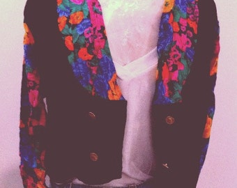 Black and floral lightweight cropped jacket