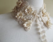 detachable peter pan collar necklace beads lace pearls bridal wedding christmas gift for her cream ivory