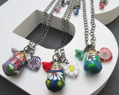 Russian doll charm necklace, stocking filler, Russian doll jewelry, Babushka charm, matryoshka necklace,