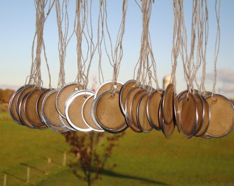 "100 Stained Metal Rim Hang Tags, sized 1 9/16"", Vintage tags, Antique tags, Primitive tags"