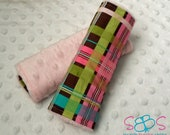 Brown & Colorful Plaid Pink Minky Car Seat Strap Covers