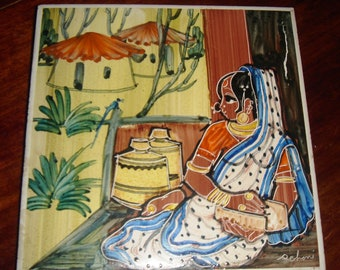 Tile,hand painted, India