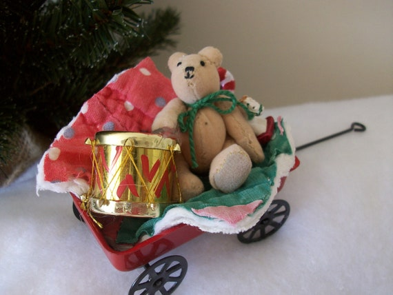 Little red wagon nostalgic christmas by ornamentseclectic on etsy