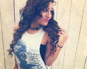 Black and White sequined tank with 'Slave' rooster print