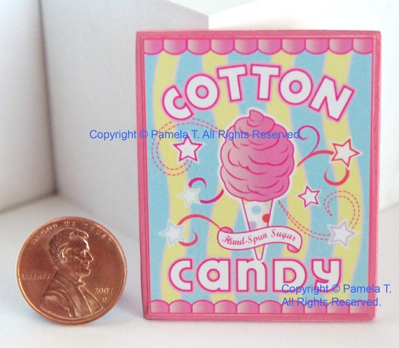 Cotton Candy Sign: Miniature Cotton Candy Wall Sign Kitchen Bakery Carnival