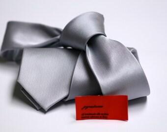 SKINNY Silver Tie in Fine Twill